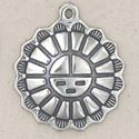 Picture of Sterling Silver Large Sun Face Charm 23.5x21mm