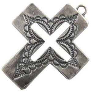 Picture of Sterling Silver Machine Cast Cut Out Stamped Loop Cross