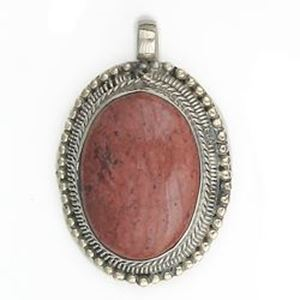 Picture of Oval Red Jasper Base Metal Pendant 28mm