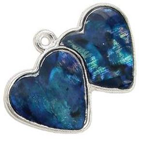 Picture of Abalone Pendant Double Heart Blue