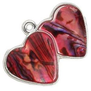Picture of Abalone Pendant Double Heart Red