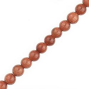 """Picture of Goldstone Round Bead 4mm 16"""" Strand"""