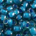 Picture of Aqua Colorlined Teal Seed Bead #399O / Size 8<br />Approximately 25 ~        Grams