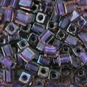 Picture of Grape Colorlined Purple Square Bead #384 / 4x4mm<br />Approximately ~        25 Grams