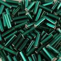 Picture of Silverlined Dark Green Bugle Beads 16A / Size 6mm<br />Approximately ~        25 Grams