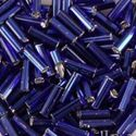 Picture of Silverlined Cobalt Bugle Beads #20 / Size 6mm<br />Approximately 25 ~        Grams