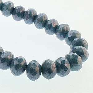 Picture of Czech Glass Blue Luster Fire Polished Rondelle 6x9mm<br />25 ~        Beads