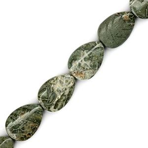 "Picture of Carved Leaf Green Lace Jasper Bead 13x18mm 16"" Strand"