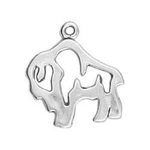 Picture of Sterling Silver Buffalo Outline Charm 20x19mm