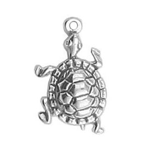 Picture of Sterling Silver 3 Dimensional Turtle Charm 20x13mm