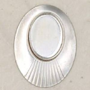 Picture of Sterling Silver Oval Stamped Disc With Bezel Cup 10mm x 14mm