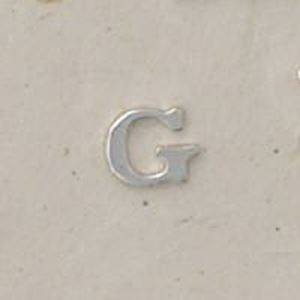 """Picture of Sterling Silver Roman Letter """"G"""" - 1/4 Inch, 24ga"""