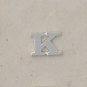 """Picture of Sterling Silver Roman Letter """"K"""" - 1/4 Inch, 24ga"""
