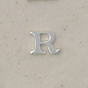 """Picture of Sterling Silver Roman Letter """"R"""" - 1/4 Inch, 24ga"""