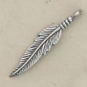 Picture of Sterling Silver Looped Double Sided Feather #2 Machine Cast ~        33x6.5mm