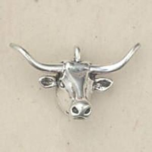Picture of Sterling Silver Machine Cast Loop Longhorn Head Charm ~        13x21mm