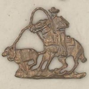 Picture of Red Brass Calf Roper Rodeo Cast, 27x32mm