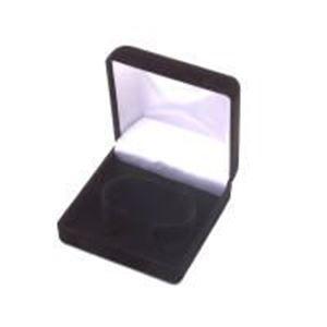 "Picture of Black Flock Bracelet/Watch Box, 3-3/8"" x 3-1/2"" x 1-3/4"" H"