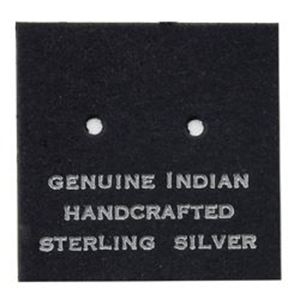 """Picture of Black Earring Card with """"Genuine Indian Hand Crafted Sterling ~        Silver"""", 1"""" x 1"""", Sold per pkg of 100"""