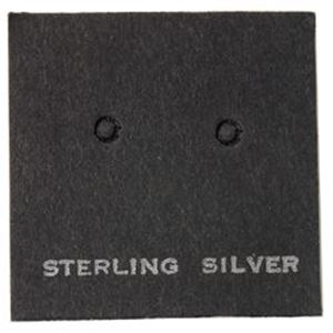 """Picture of Black Earring Card with """"Sterling Silver"""", 1"""" x 1"""", Sold per pkg of ~ 100"""