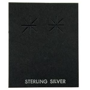 """Picture of Black Earring Card with """"Sterling Silver"""", 1-5/8"""" x 2"""", Sold per pkg ~        of 100"""