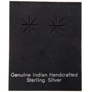 """Picture of Black Earring Card with """"Geniune Indian Hand Crafted Sterling ~        Silver"""", 1-5/8"""" x 2"""", Sold per pkg of 100"""