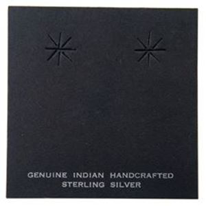 """Picture of Black Earring Card with """"Genuine Indian Hand Crafted Sterling ~ Silver"""", 2-3/8"""" x 2-3/8"""", Sold per pkg of 100"""