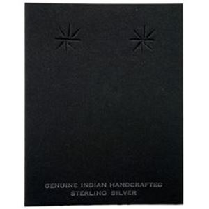 "Picture of Black Earring Card with ""Genuine Indian Hand Crafted Sterling ~ Silver"", 2-3/8"" x 3"", Sold per pkg of 100"