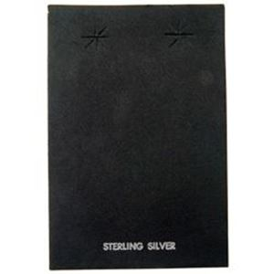 "Picture of Black Earring Card with ""Sterling Silver"", 2-3/8"" x 3-1/2"", Sold per ~        pkg of 100"