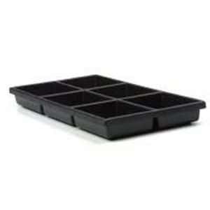 """Picture of Black Plastic Tray Liner, 6 compartments, 4-1/4""""x 3-1/4""""x ~ 1-1/2"""""""