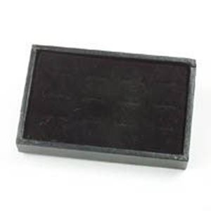 "Picture of Enchanted Black Flock Ring Pad with Quality Jewelry Tray, 12 Straight ~ Ring Slots, 6"" x 4"" x 1"" H"