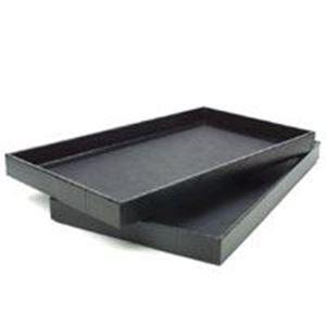 """Picture of Black Vinyl Textured Bargain Stackable Jewelry Tray, 14-1/2"""" x 8-1/8"""" ~ x 1"""" H"""
