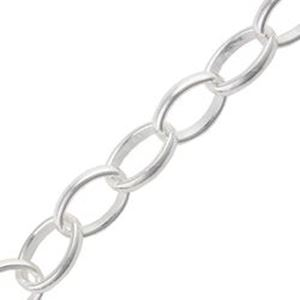 Picture of Sterling Silver Oval Rolo Bulk Chain 5mm, Sold by the Foot