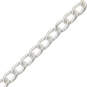 Picture of Silver Plated Heavy Curb Chain 24 Inch x 1.7mm. IMPORTED ECONOMY ~ QUALITY CHAINS: DUE TO THE PRICE, THIS ITEM VARIES IN LENGTH AND SIZE, NO ~ REFUNDS OR EXCHANGES.