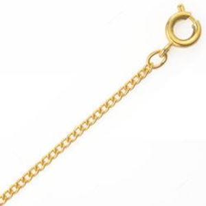 "Picture of Gold Plated Curb Chain #140 24"". IMPORTED ECONOMY QUALITY CHAINS: DUE ~        TO THE PRICE, THIS ITEM VARIES IN LENGTH AND SIZE, NO REFUNDS OR ~        EXCHANGES."