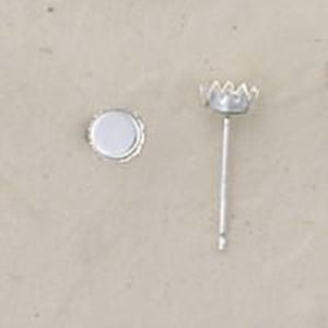 Picture of Sterling Silver Bezel Cup Ear Post .029 x 7/16 Inch 4mm