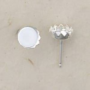 Picture of Sterling Silver Bezel Cup Ear Post .036 x 3/8 Inch 6mm