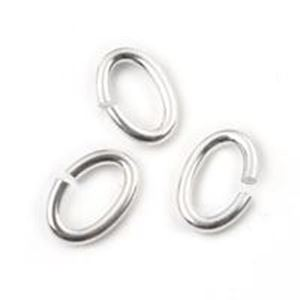 """Picture of Sterling Silver Oval Jump Ring, Outer Diameter 6x9mm, 0.050""""/16 Gauge ~ Wire, Sold per pkg of 10"""
