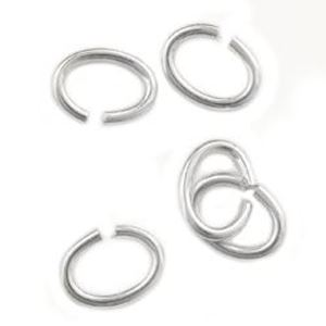 """Picture of Sterling Silver Oval Jump Ring, Outer Diameter 3x4mm/0.025"""", 22 ~ Gauge Wire, Sold per pkg of 10"""