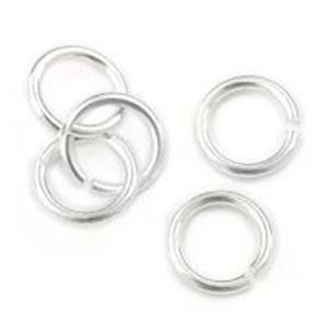 """Picture of Sterling Silver Round Jump Ring, Outer Diameter 6mm, 0.032"""", 20 Gauge ~ Wire, Sold per pkg of 10"""