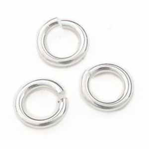 """Picture of Sterling Silver Round Jump Ring, Outer Diameter 5mm, 0.04"""", 18 Gauge ~        Wire, Sold per pkg of 10"""