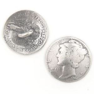 Picture of Base Metal Cast Mercury Dime Coin, 19mm