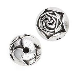 Picture of Silver Plated Rose Beads 9mm<br />10 Beads