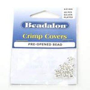 Picture of Beadalon Silver Plated Crimp Cover 4mm <br />20 Piece ~        Package