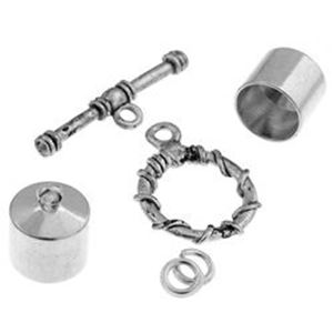 Picture of Silver Plated Kumihimo Finding Kit<br />10mm End Cap/Jump ~ Ring/Toggle