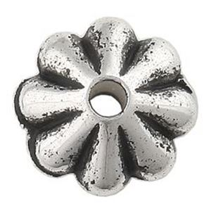 Picture of Silver Plated Daisy Oxidized Beads 6mm<br />100 Beads