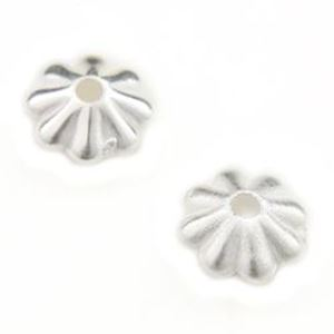 Picture of Silver Plated Daisy Beads 6mm<br />100 Beads