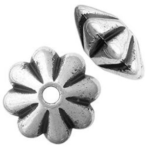 Picture of Silver Plated Daisy Oxidized Beads 9mm<br />100 Beads