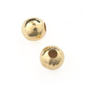 """Picture of Gold Plated Plain Beads 6mm 0.088"""" Hole<br />50 Beads"""