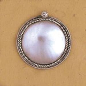 Picture of White Base Metal Round Pendant 42mm